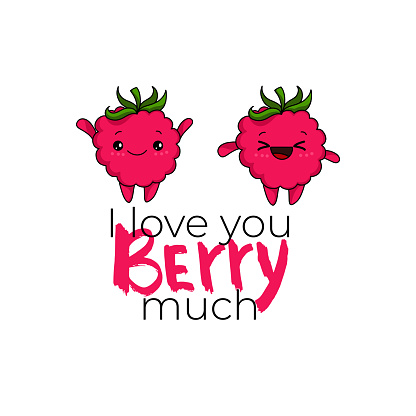 Kawaii Strawberry cartoon vector illustration, cute summer berry smiling for logo, poster, banner, logo, icon, textile print, kids t-shirt, invitation, organic food materials, healthy fruit nutrition