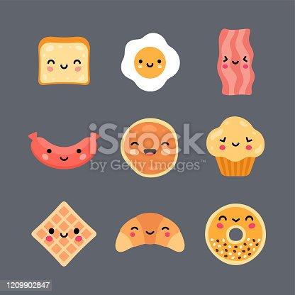 Kawaii style breakfast foods vector icon set