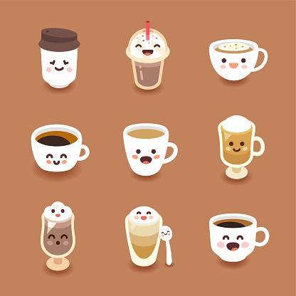 Kawaii style coffee drinks vector illustration set