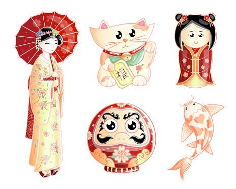 Kawaii style Japanese culture symbols set