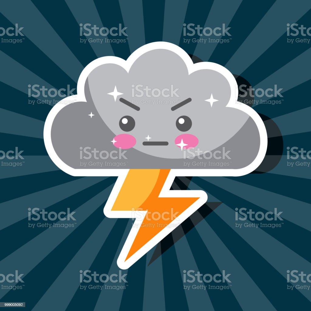 かわいいサンダー ボルト雲嵐漫画天気 イラストレーションのベクター
