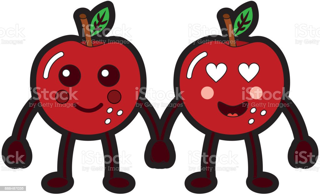 kawaii two cartoon fruit apple holding hands vector art illustration