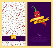 Kawaii two sided brochure, flyer for fast food. funny tickets design with emotion pattern and chili pepper. Vector illustration.