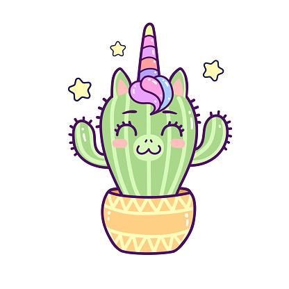 Kawaii unicorn cactus smiling hands up, happy cartoon vector