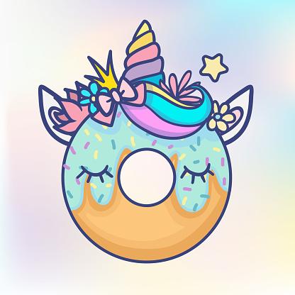 Kawaii unicorn donut pastel colours comic style