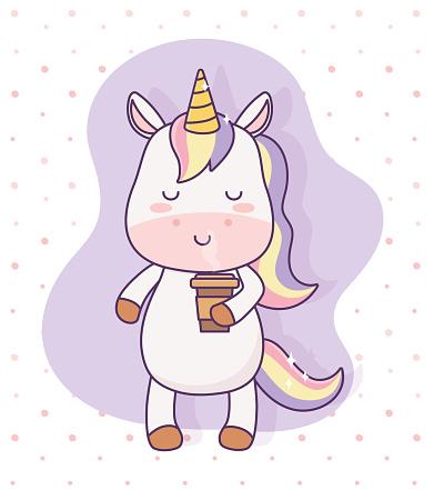 kawaii unicorn with coffee cup cartoon character magical fantasy