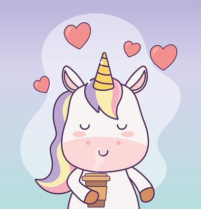 kawaii unicorn with coffee cup hearts cartoon character magical fantasy