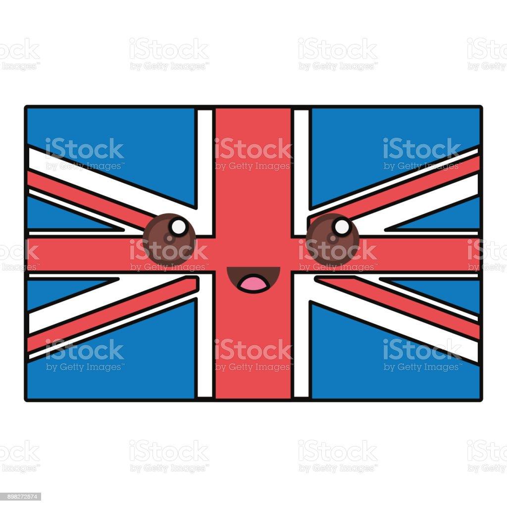 Ilustración De Bandera De Unión Gato Kawaii Vector Ilustración Y Más