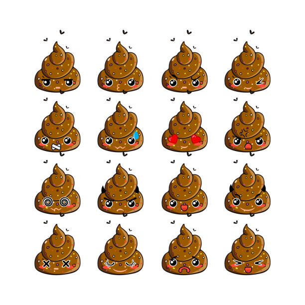 Kawaii vector poop emoticons set. vector art illustration