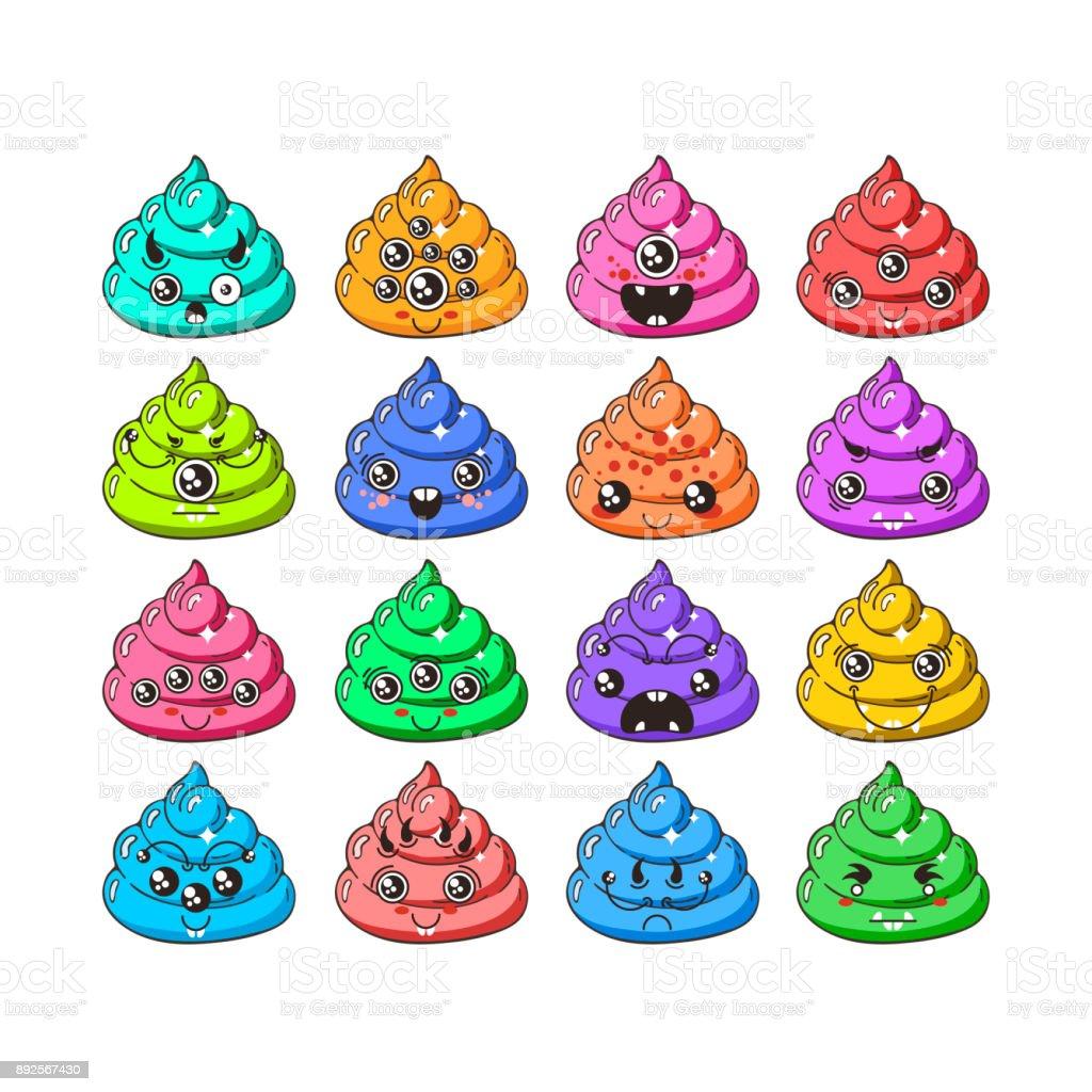 Kawaii-Vektor-Poop-Emoticons-Set. – Vektorgrafik