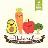 Kawaii Vegetable cartoon characters illustration