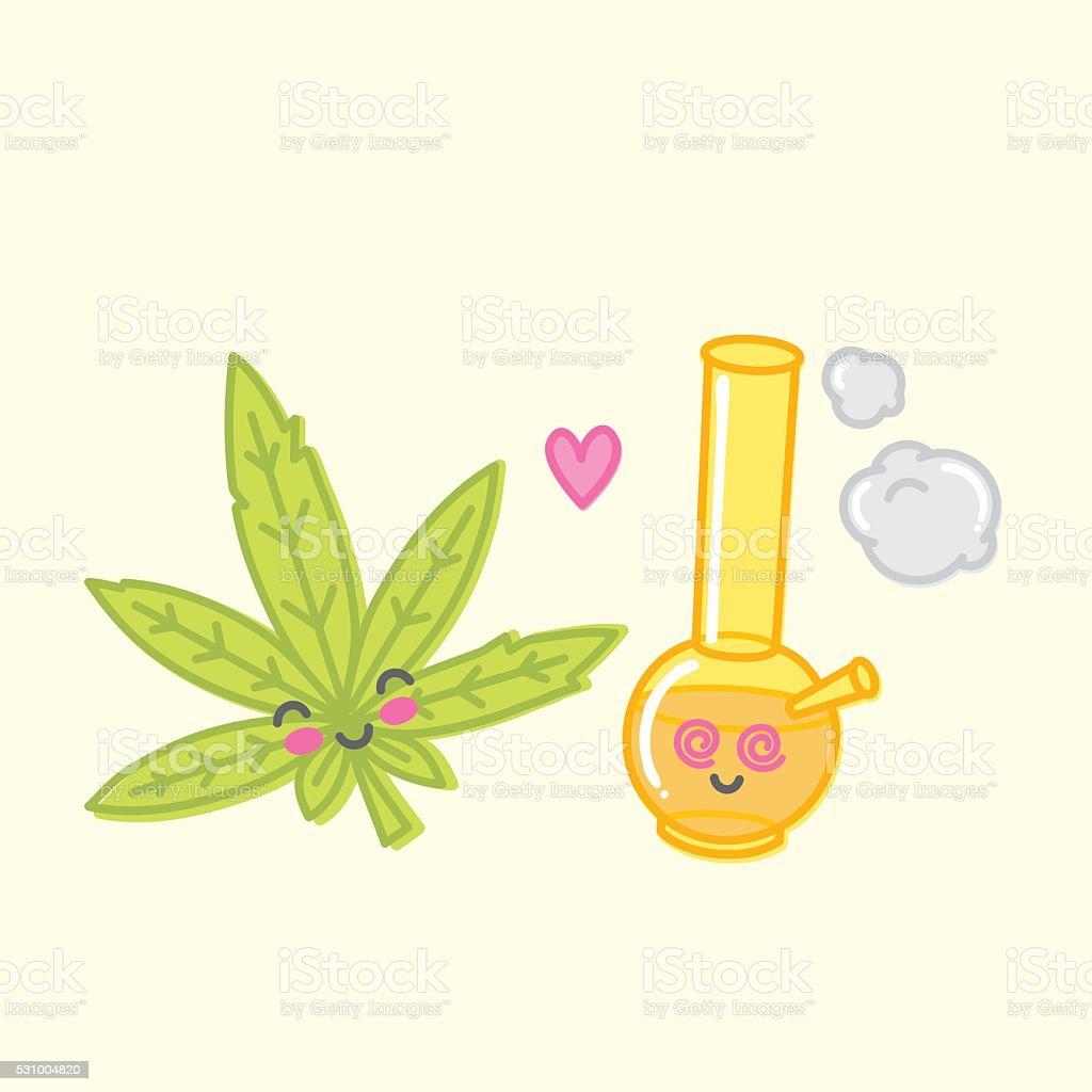 Kawaii weed love bong vector illustration vector art illustration