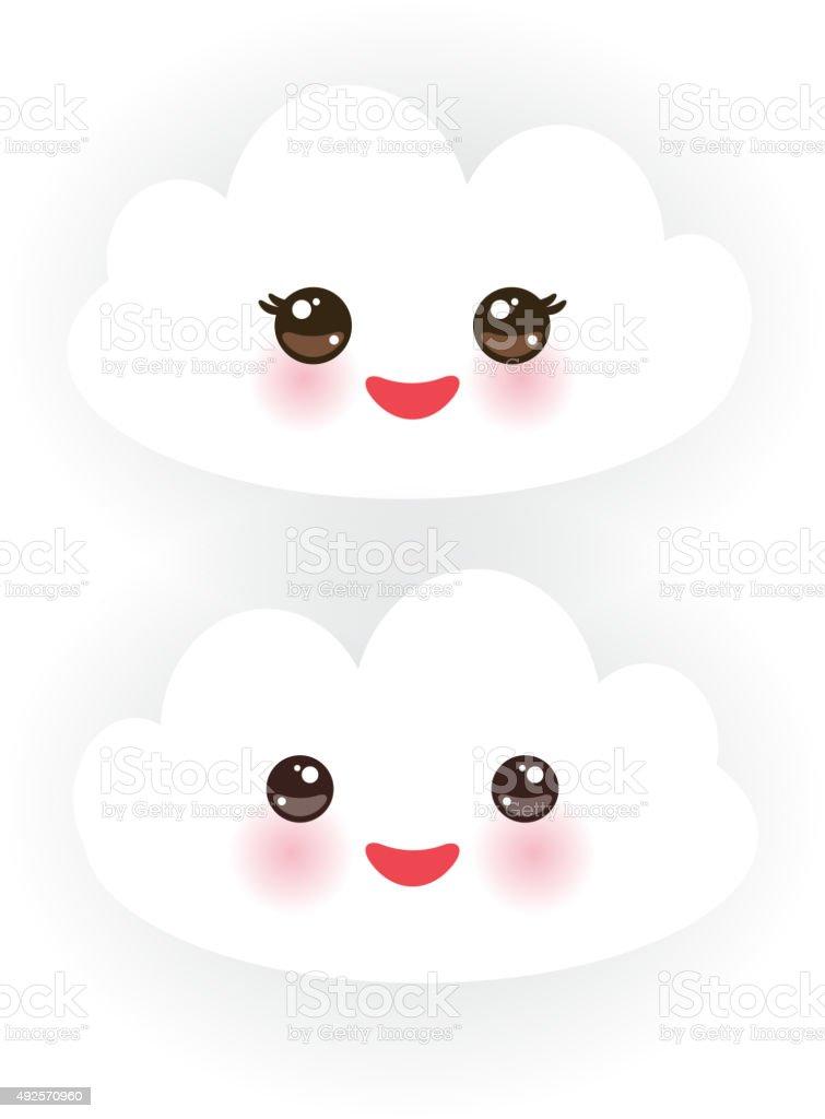 Kawaii Nuvole Bianche Con Guance Rosa Winking Occhi Sfondo Bianco