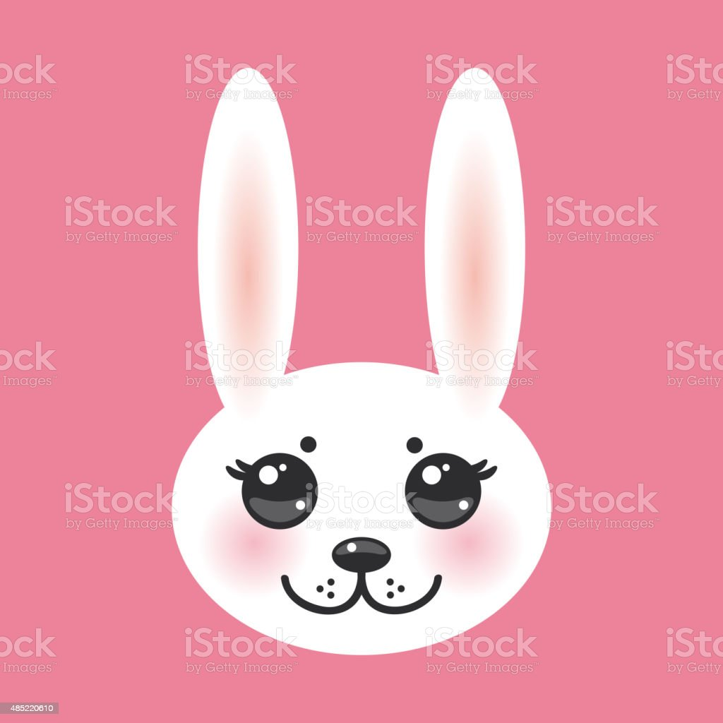 Kawaii Bianco Di Coniglio Su Sfondo Rosa Con Guance Rosa Immagini