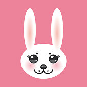 Kawaii funny animal muzzle white rabbit on pink background with pink cheeks and big black eyes. Vector illustration