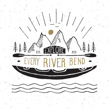 Kayak and canoe vintage label, Hand drawn sketch, grunge textured retro badge, typography design t-shirt print, vector illustration