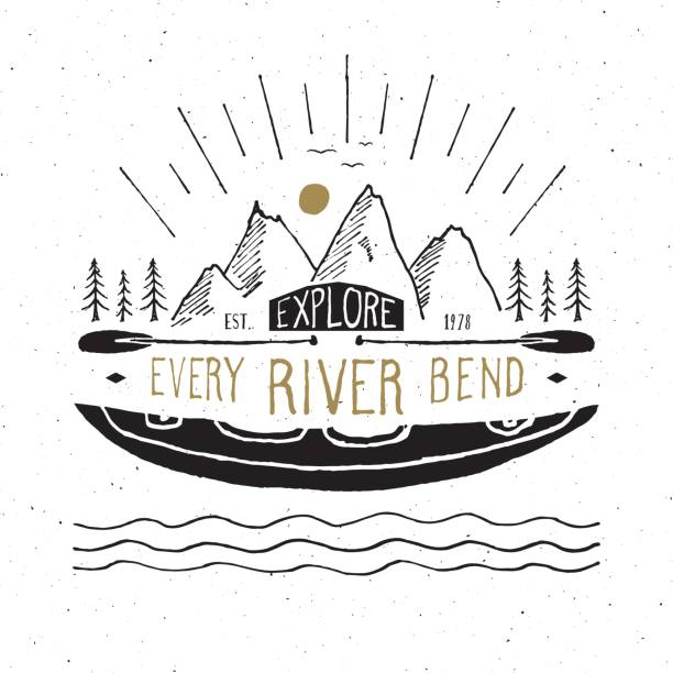 Kayak et canot croquis dessiné main, insigne rétro texture grunge, typographie, étiquette vintage design impression t-shirt, vector illustration - Illustration vectorielle