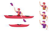 Kayak and people equipped with various kayak equipment. Vector illustration.
