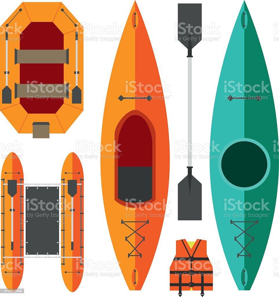 Caiaque e rafting barcos - ilustração de arte em vetor