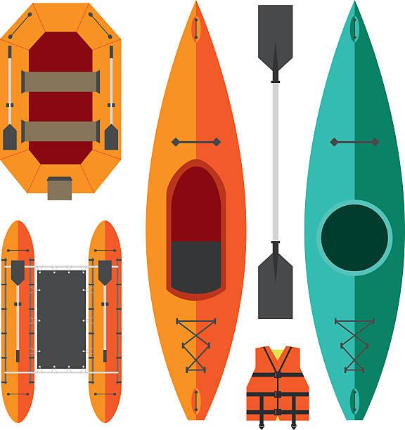 ilustraciones, imágenes clip art, dibujos animados e iconos de stock de balsa en kayak y barcos - kayak