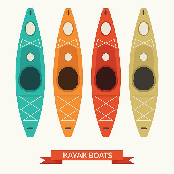 ilustraciones, imágenes clip art, dibujos animados e iconos de stock de kayak embarcaciones de iconos de vector de colorido - kayak