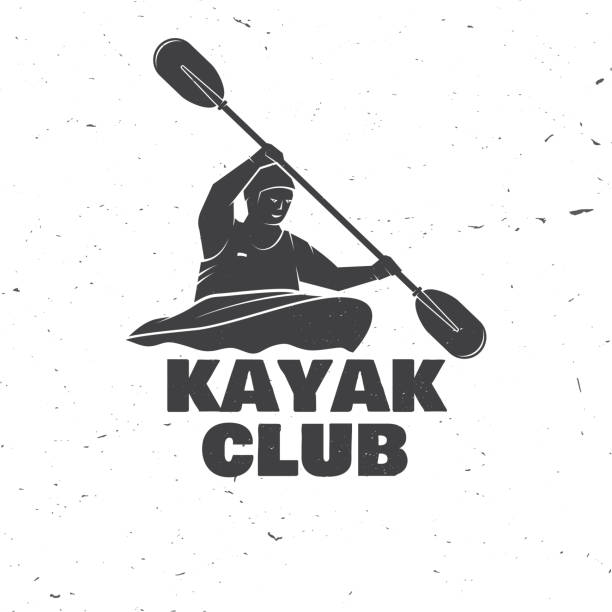 kayak club. vector illustration - kayaking stock illustrations, clip art, cartoons, & icons