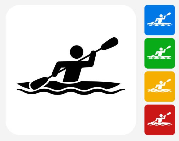 ilustraciones, imágenes clip art, dibujos animados e iconos de stock de kayak iconos planos de diseño gráfico - kayak