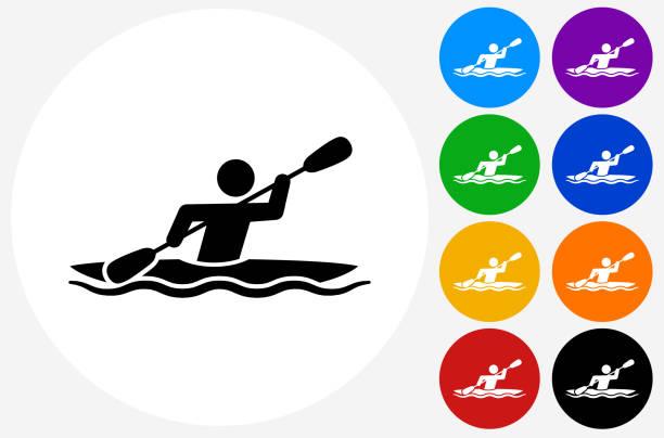 ilustraciones, imágenes clip art, dibujos animados e iconos de stock de kayak icon on flat color circle buttons - kayak