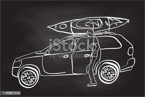 Young man getting in the backseat of a car with a kayak on the roof