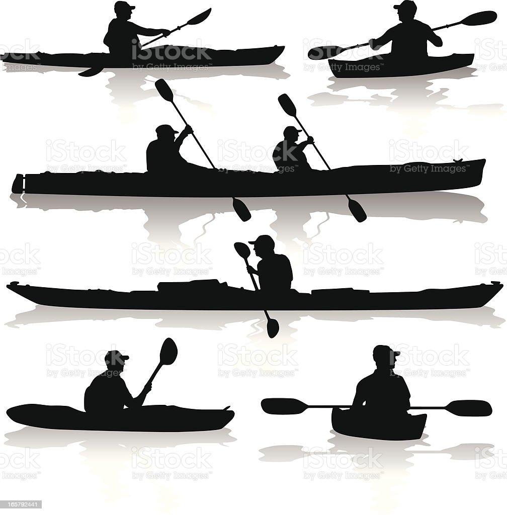 Kayak Silhouettes royalty-free stock vector art