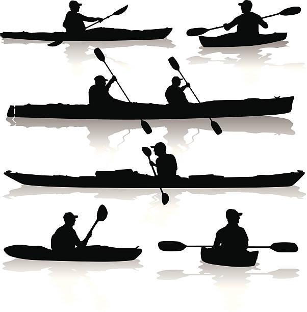 Kayak Silhouettes vector art illustration