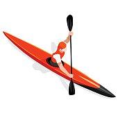 Kayak Sprint  Sports Isometric 3D Vector Illustration