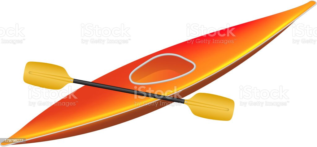 Kayak with paddle royalty-free stock vector art