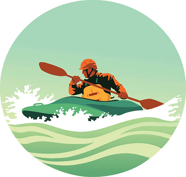 kayaker paddling powerfully through white waters - kayaking stock illustrations, clip art, cartoons, & icons