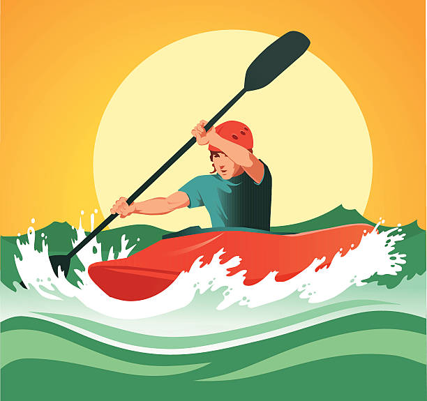 kayaker paddling through dangerous white waters - kayaking stock illustrations, clip art, cartoons, & icons