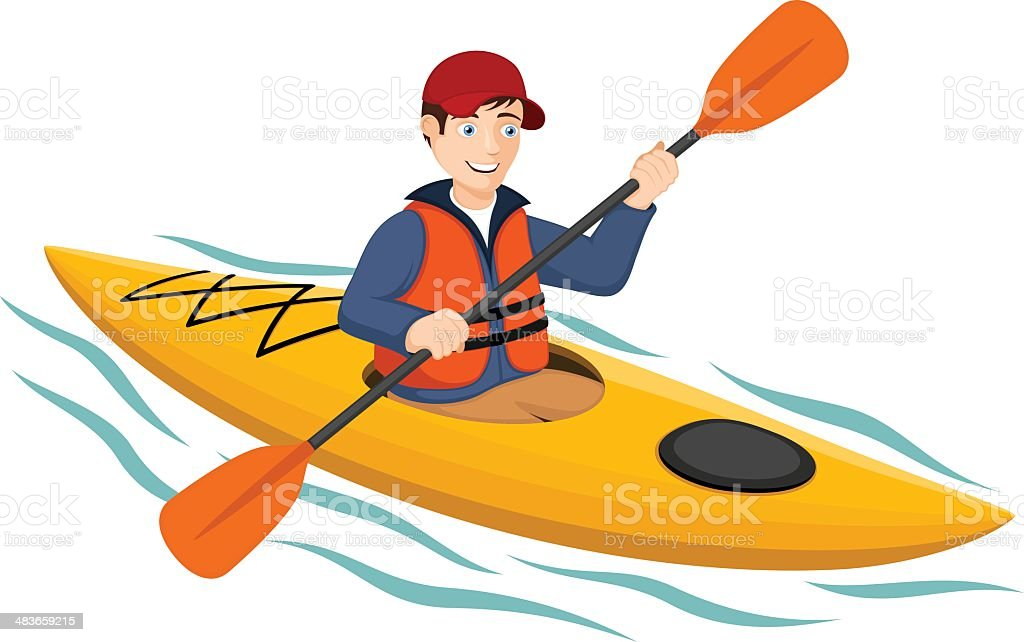 Kayaker vector art illustration
