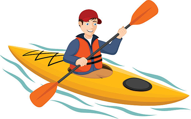 kayaker - kayaking stock illustrations, clip art, cartoons, & icons