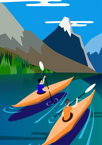 Kayakers float on the lake, mountains background, nature, peace and serenity. Vector illustration poster.