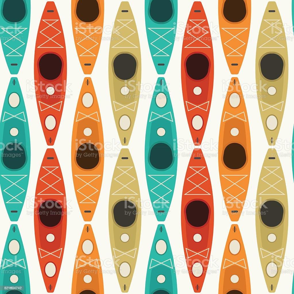 Caiaque e canoagem padrão perfeito - ilustração de arte em vetor