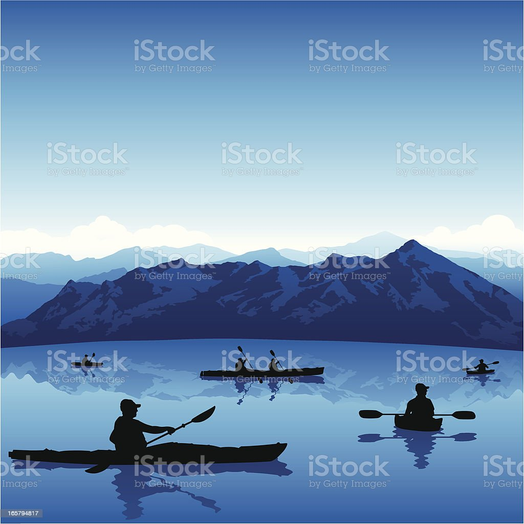 Kayaking Background vector art illustration