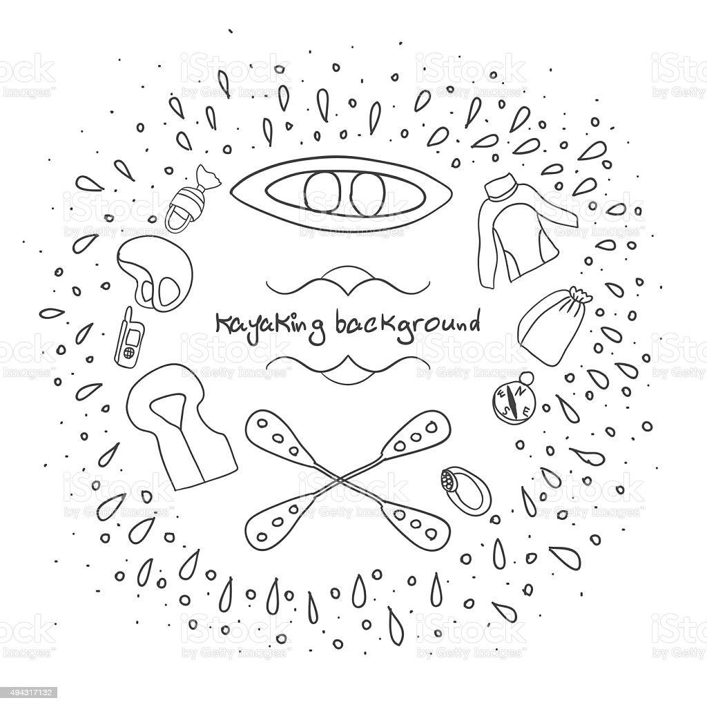 kayaking background-1 vector art illustration