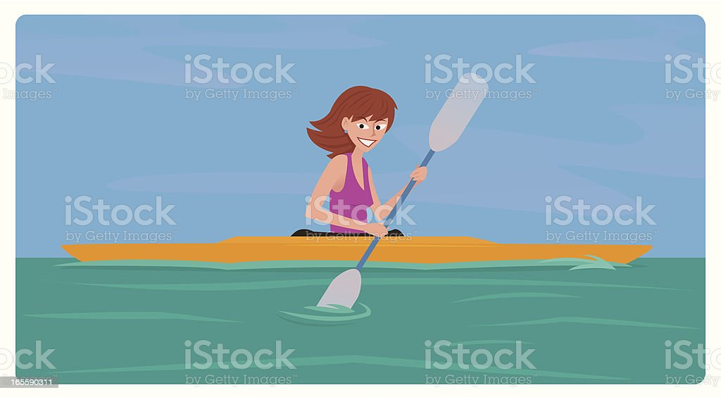 Kayaking Girl vector art illustration