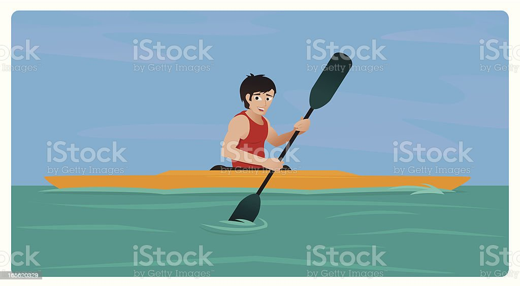 Kayaking Guy vector art illustration