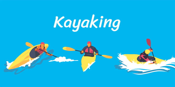 kayaking illustration set - kayaking stock illustrations, clip art, cartoons, & icons