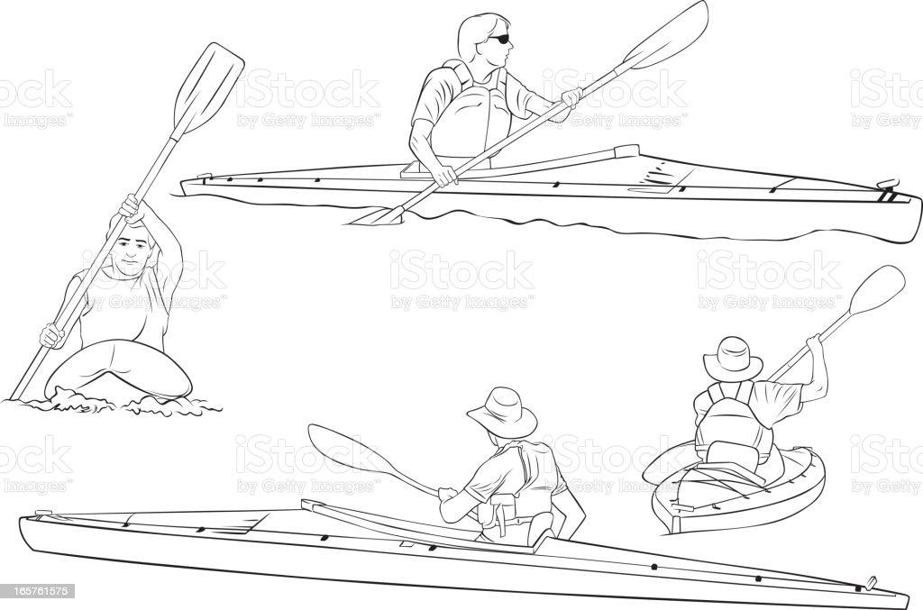 Kayaking line drawings royalty-free stock vector art