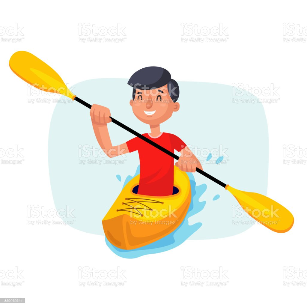 Kayaking Paddling on Boats Vector. Having Fun. Paddle Oar. Sport, Outdoor Activities. Isolated On White Cartoon Character Illustration vector art illustration