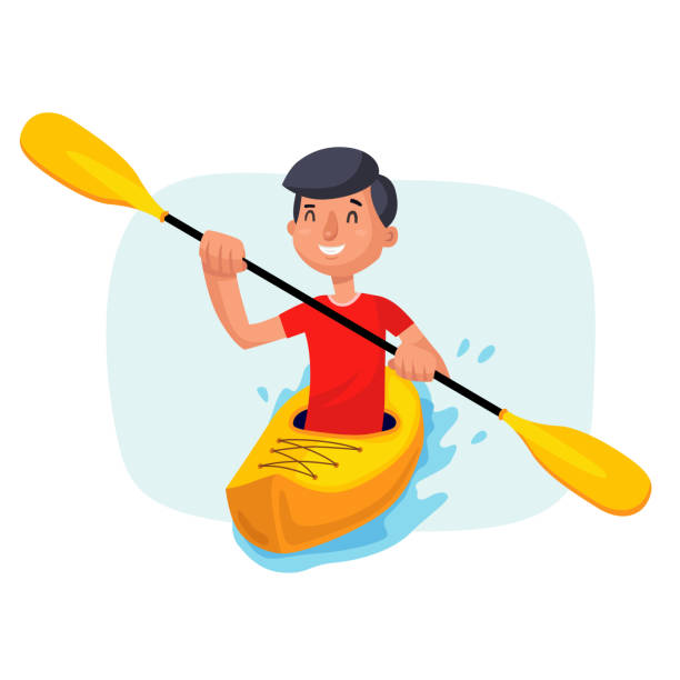 kayaking paddling on boats vector. having fun. paddle oar. sport, outdoor activities. isolated on white cartoon character illustration - kayaking stock illustrations, clip art, cartoons, & icons