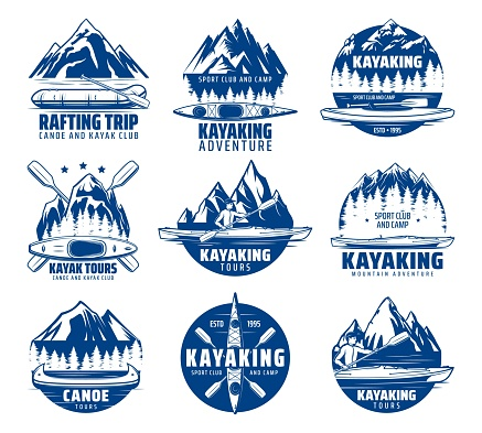 Kayaking, rafting and canoeing sport vector icons