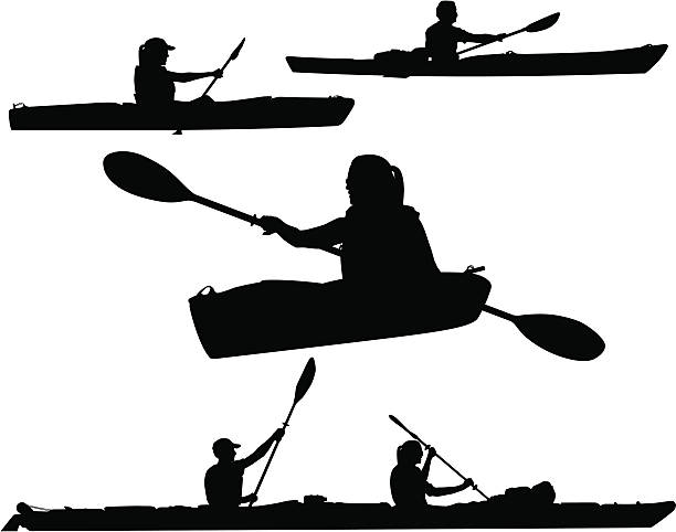 kayaking silhouettes - kayaking stock illustrations, clip art, cartoons, & icons