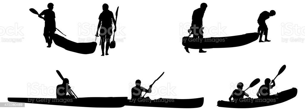 Kayaking silhouettes vector art illustration